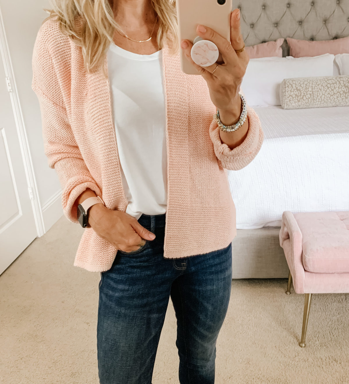 Old Navy Fashion, White Tank, Cardigan, Jeans, Booties