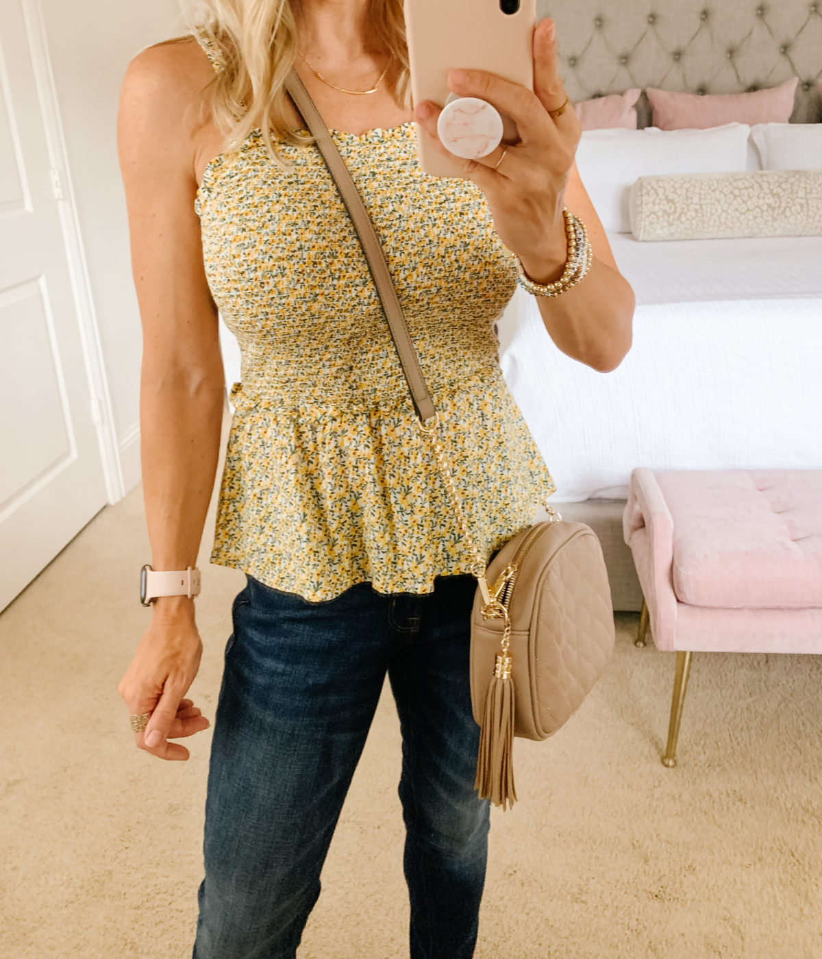 Old Navy Fashion, Smocked Top, Jeans, Crossbody