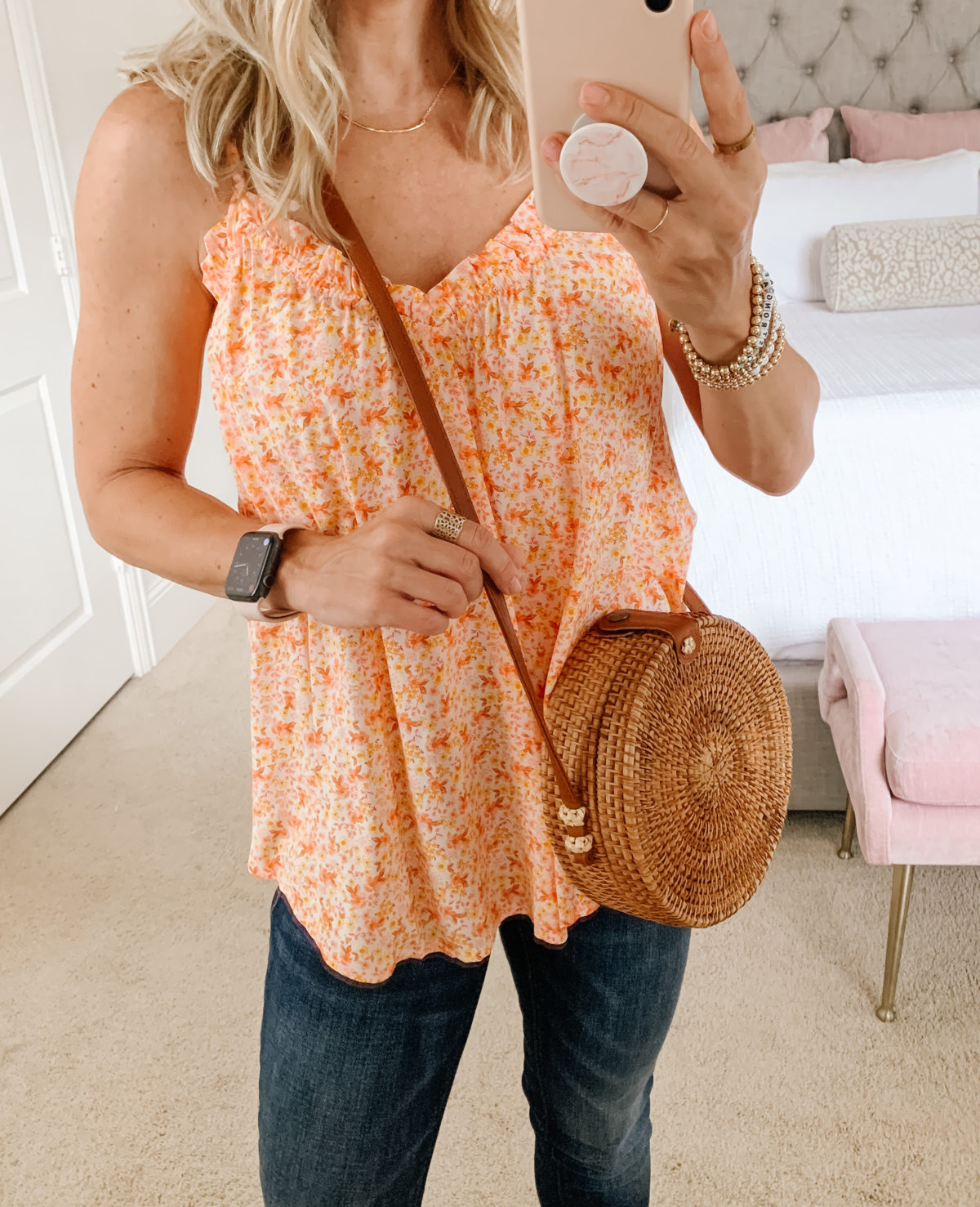 Old Navy Fashion, Floral Cami, Jeans, Wedges, Crossbody