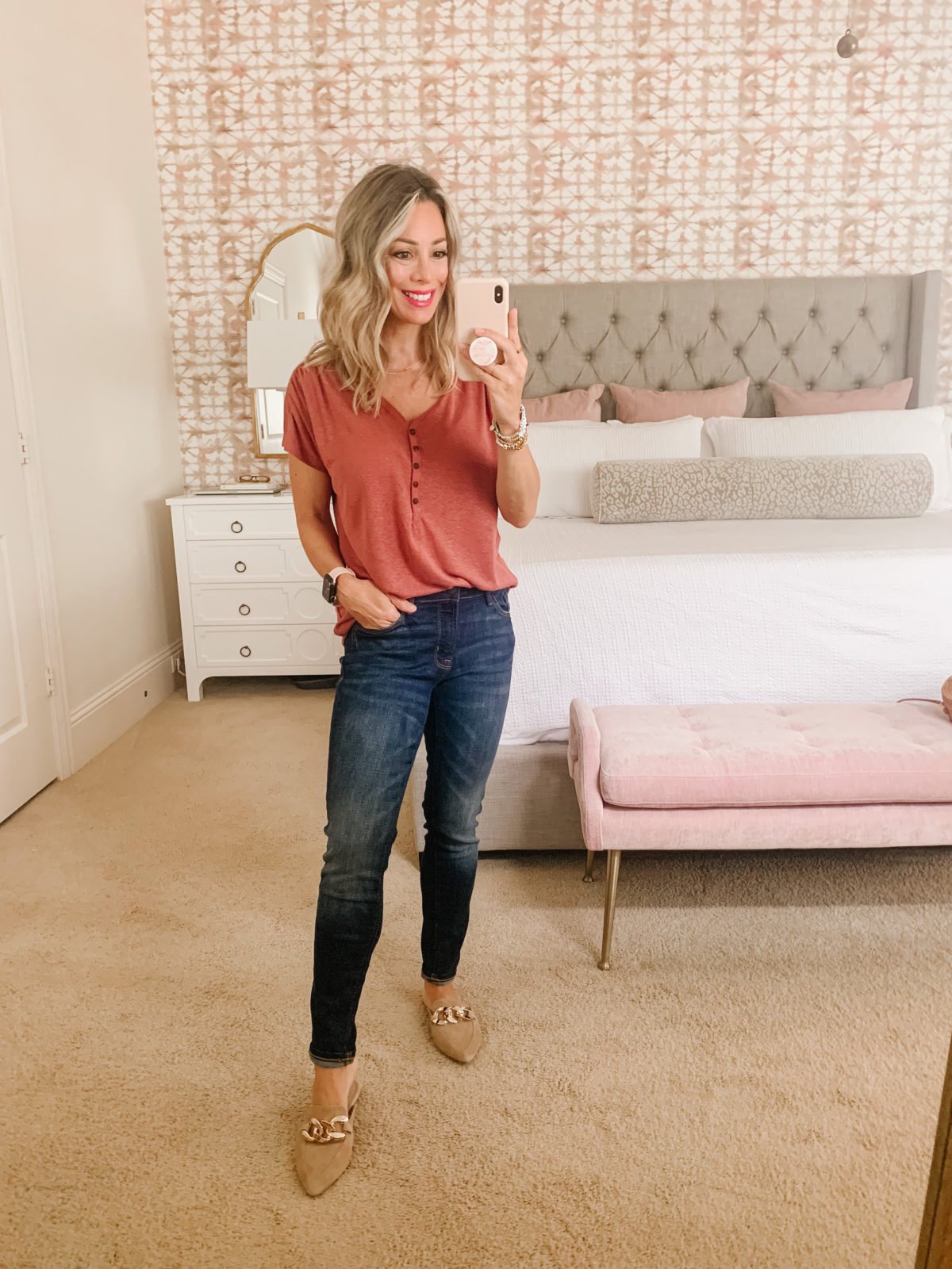 Old Navy Fashion, Henley Tee and Jeans with Mules