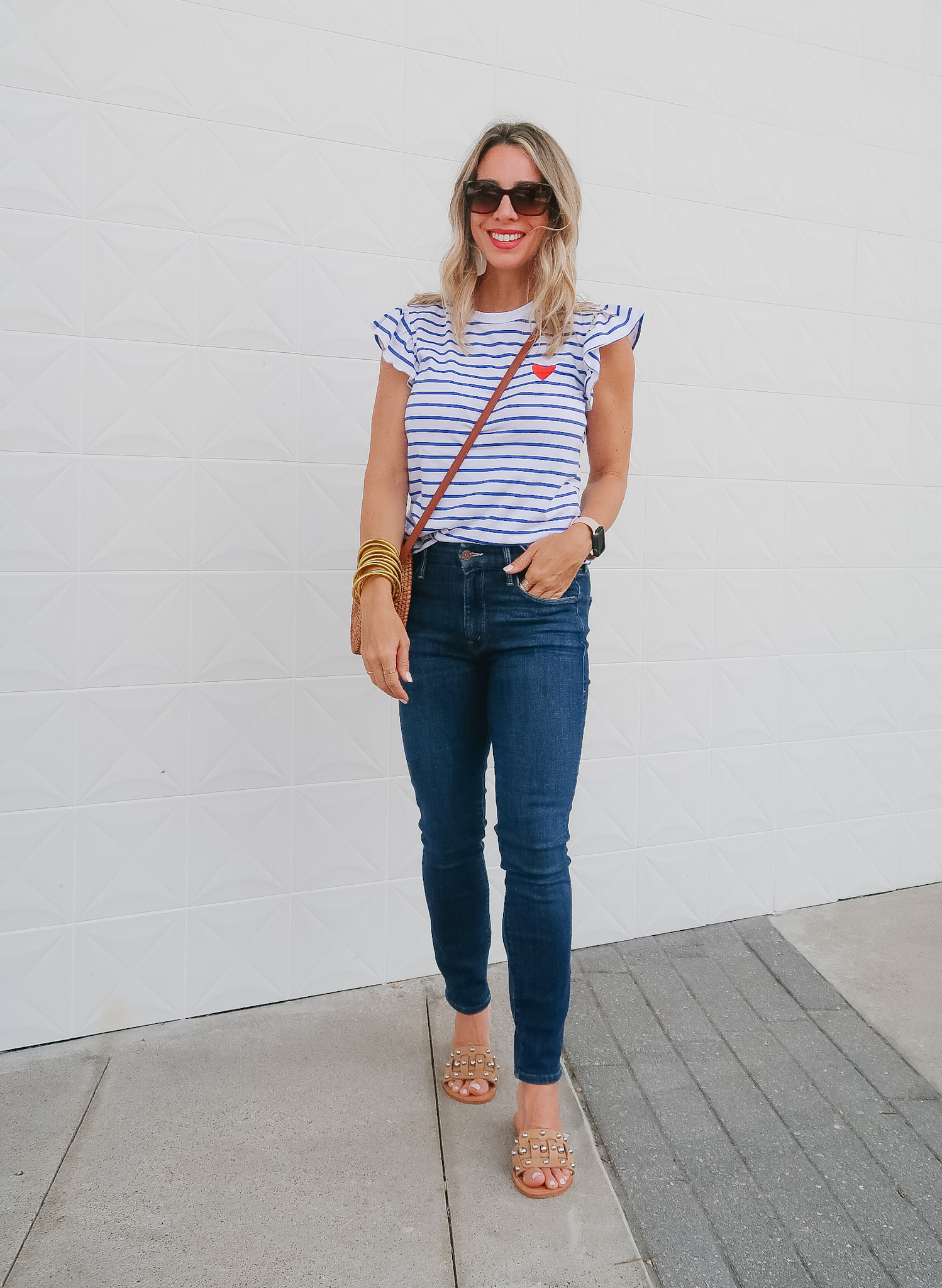 Outfits Lately, Striped Heart Top, Jeans, Sandals, Crossbody