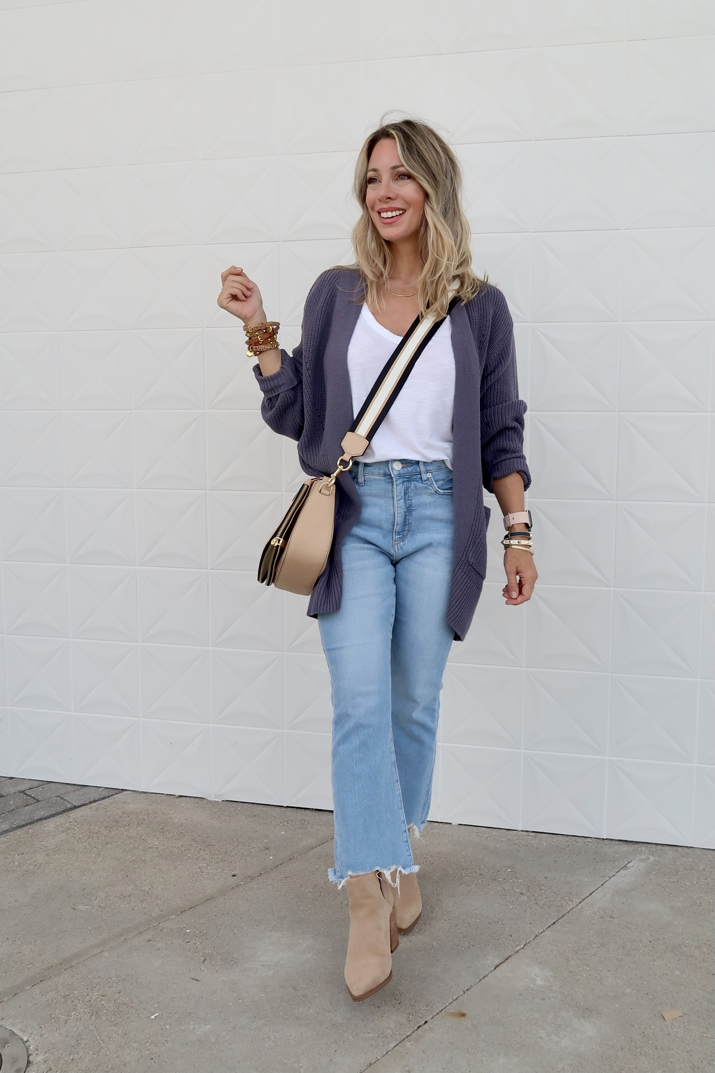 Outfit Lately, Tank, Cardigan, Jeans, Booties, Crossbody