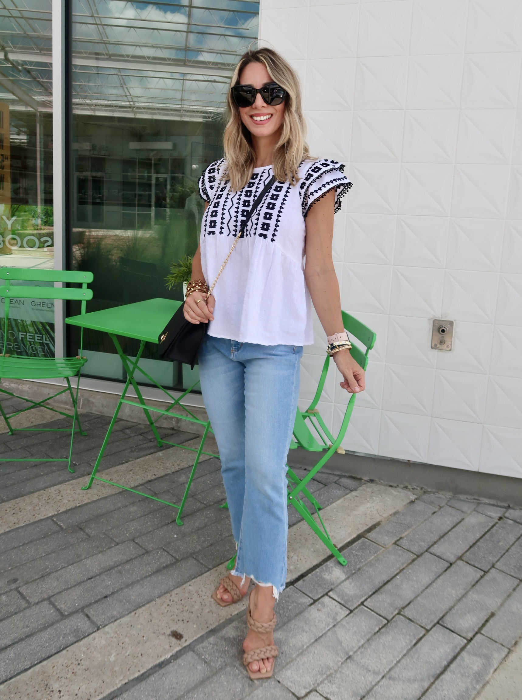 Outfits Lately, Embroidered Top, Jeans, Sandals, Crossbody
