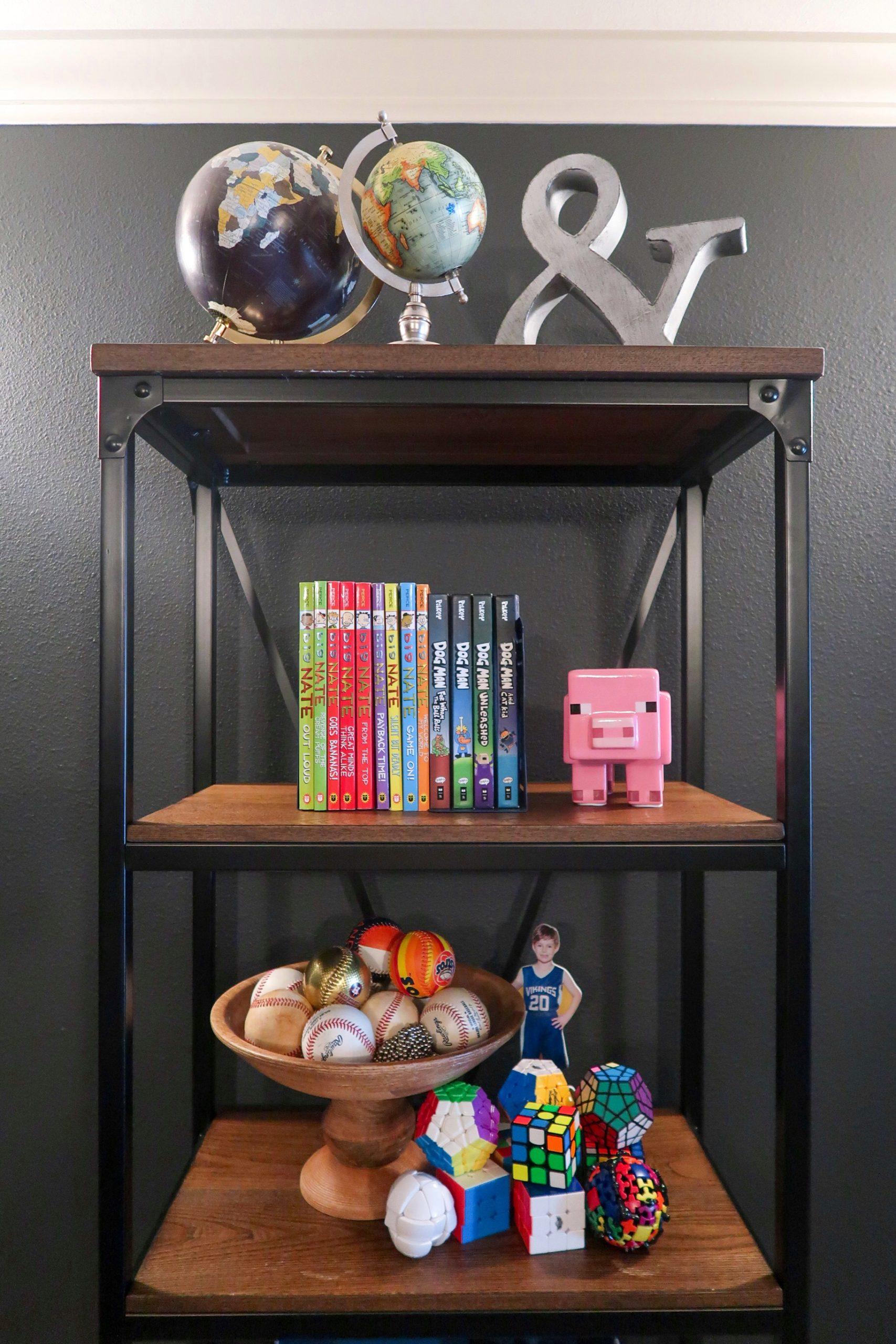Tween Boy wooden iron bookshelf