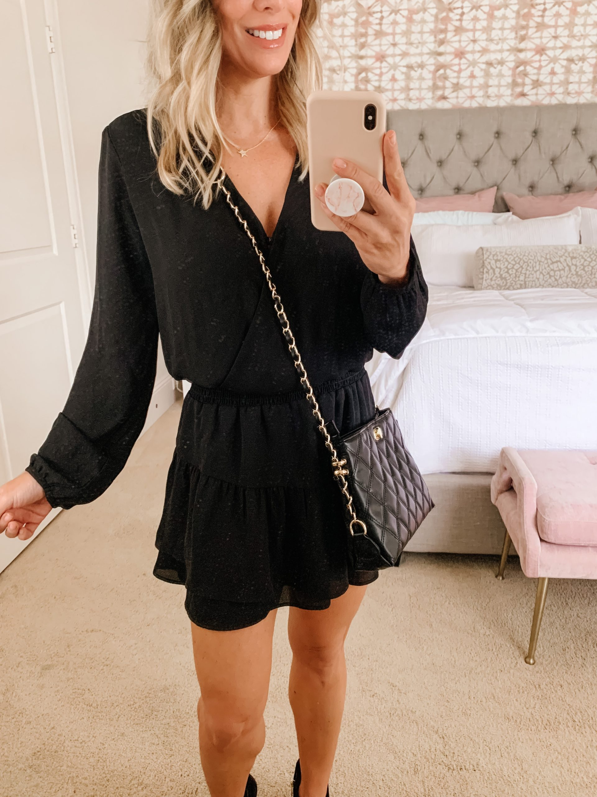 LBD and booties with crossbody