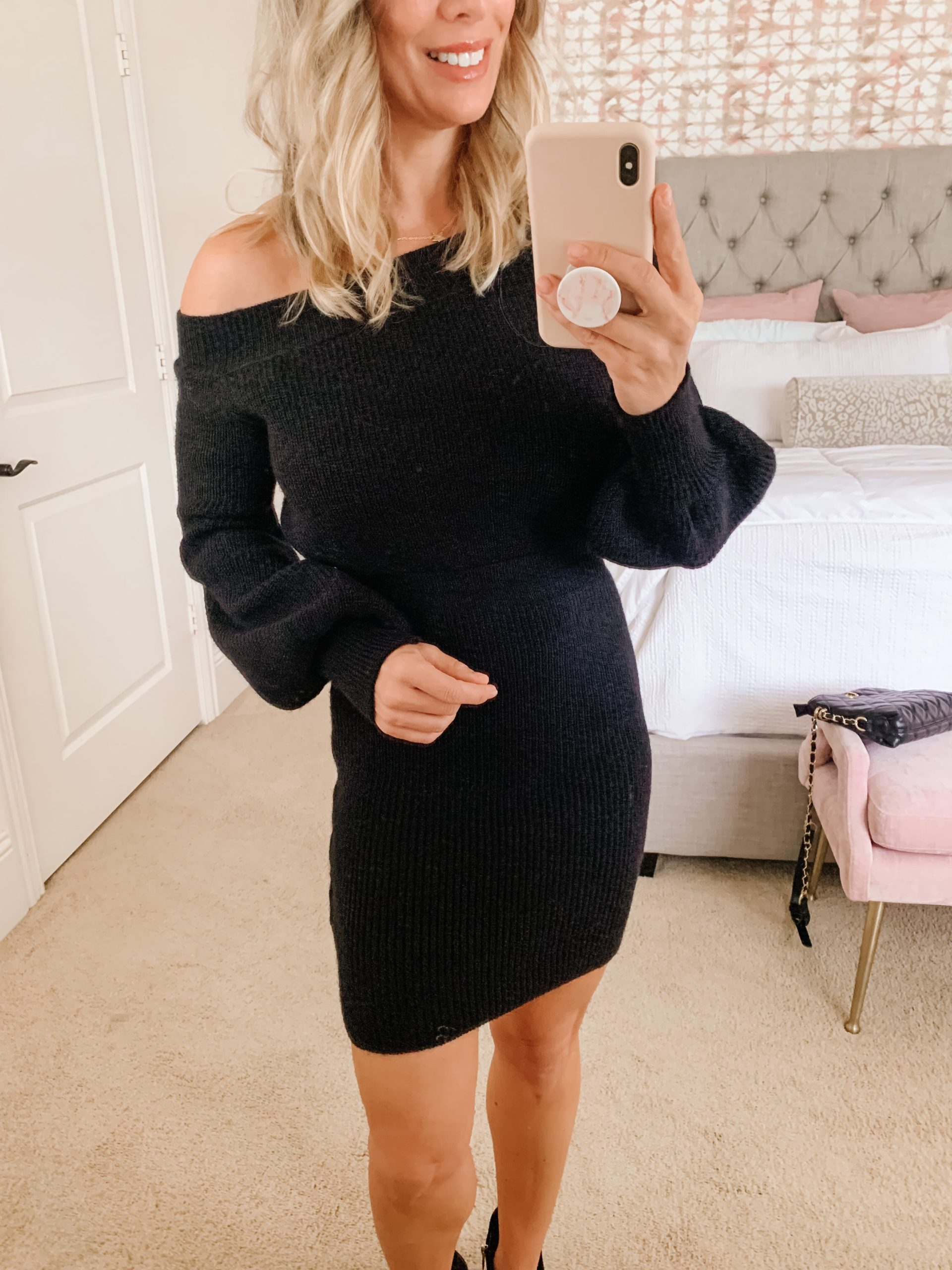 Sweater dress, Booties, Crossbody