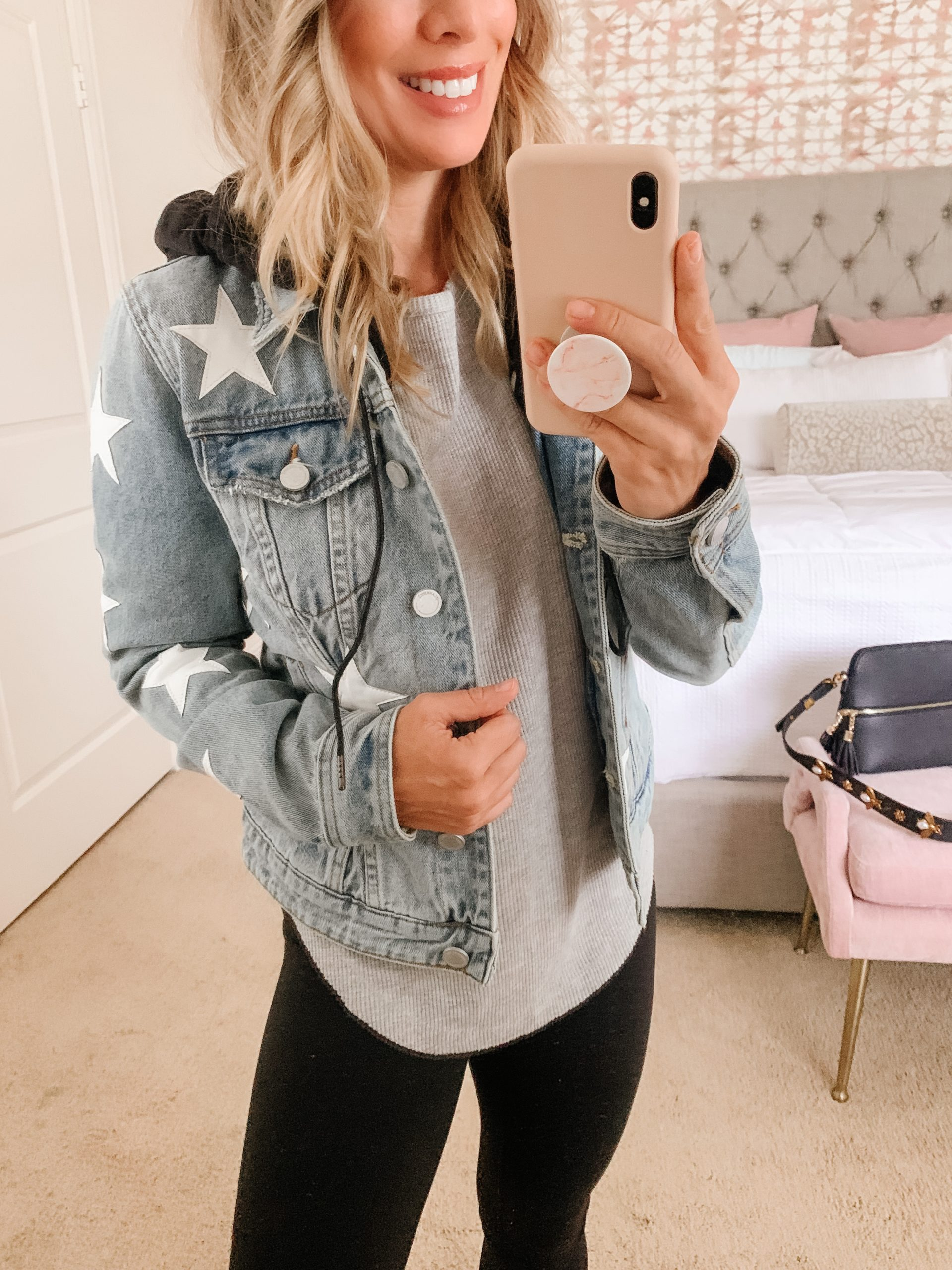 star denim jacket with removeable hoodie