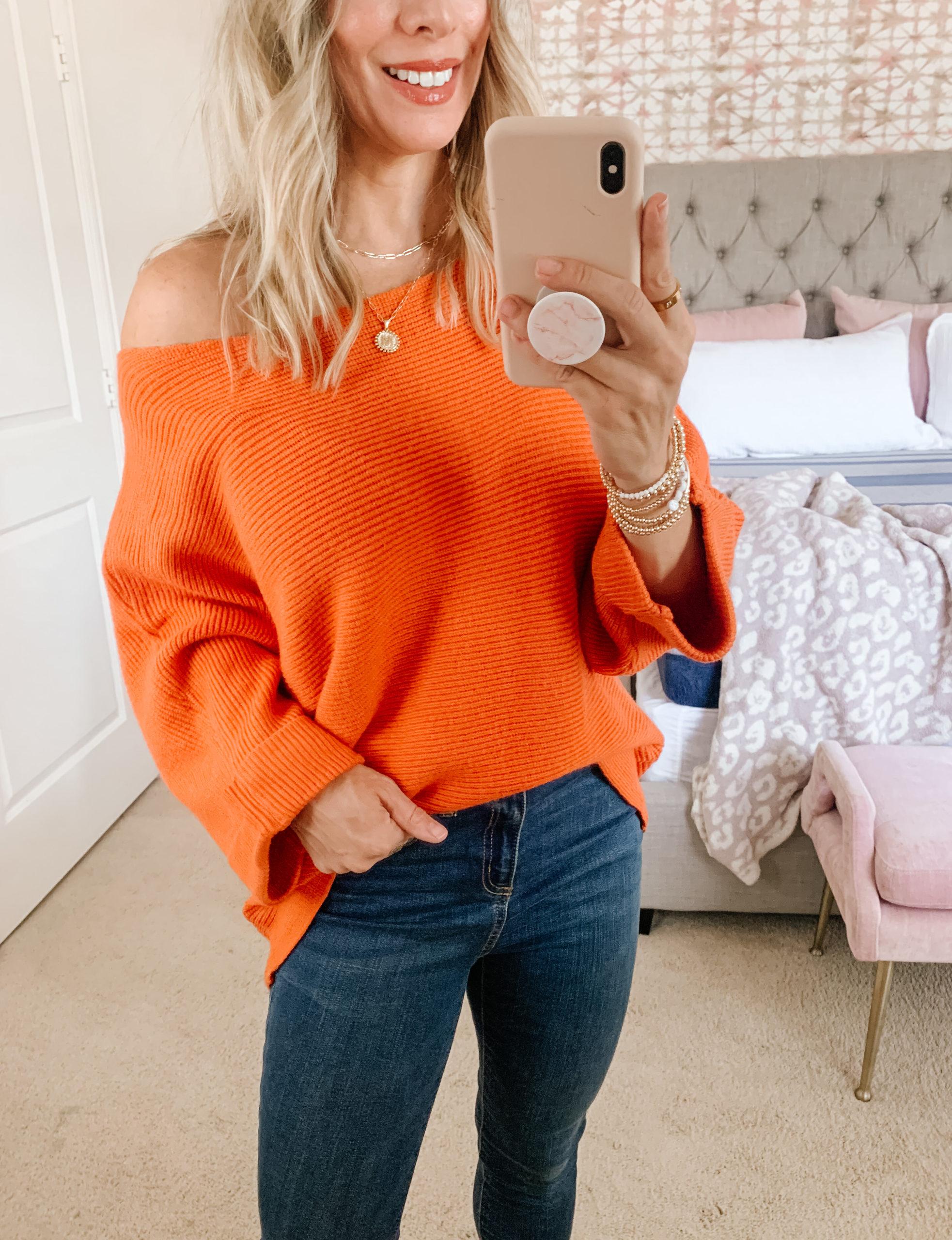 Amazon Fashion, Orange Sweater, Jeans, Booties