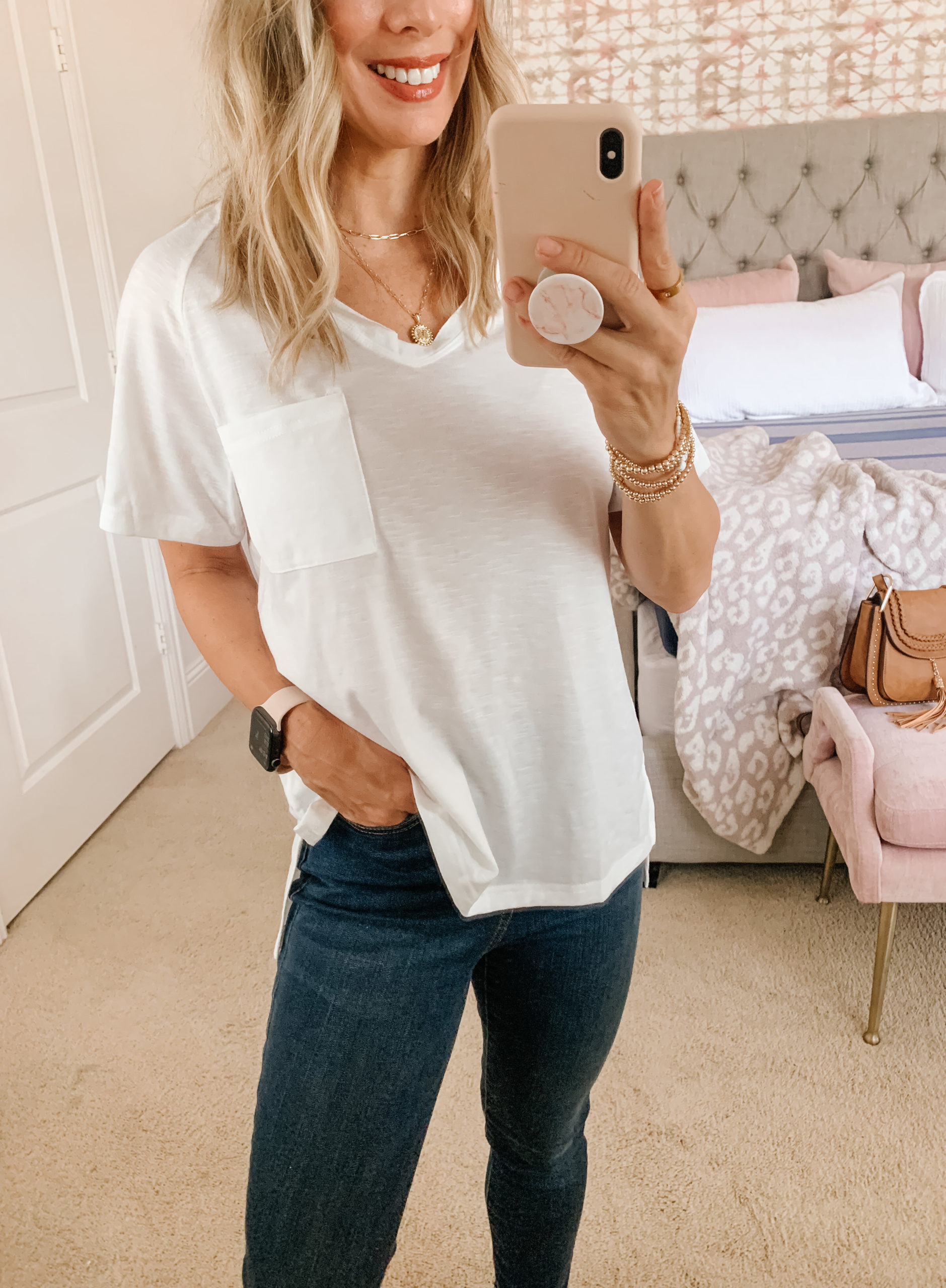 Amazon Fashion, V Neck Tee, Jeans, Sneakers, and Crossbody