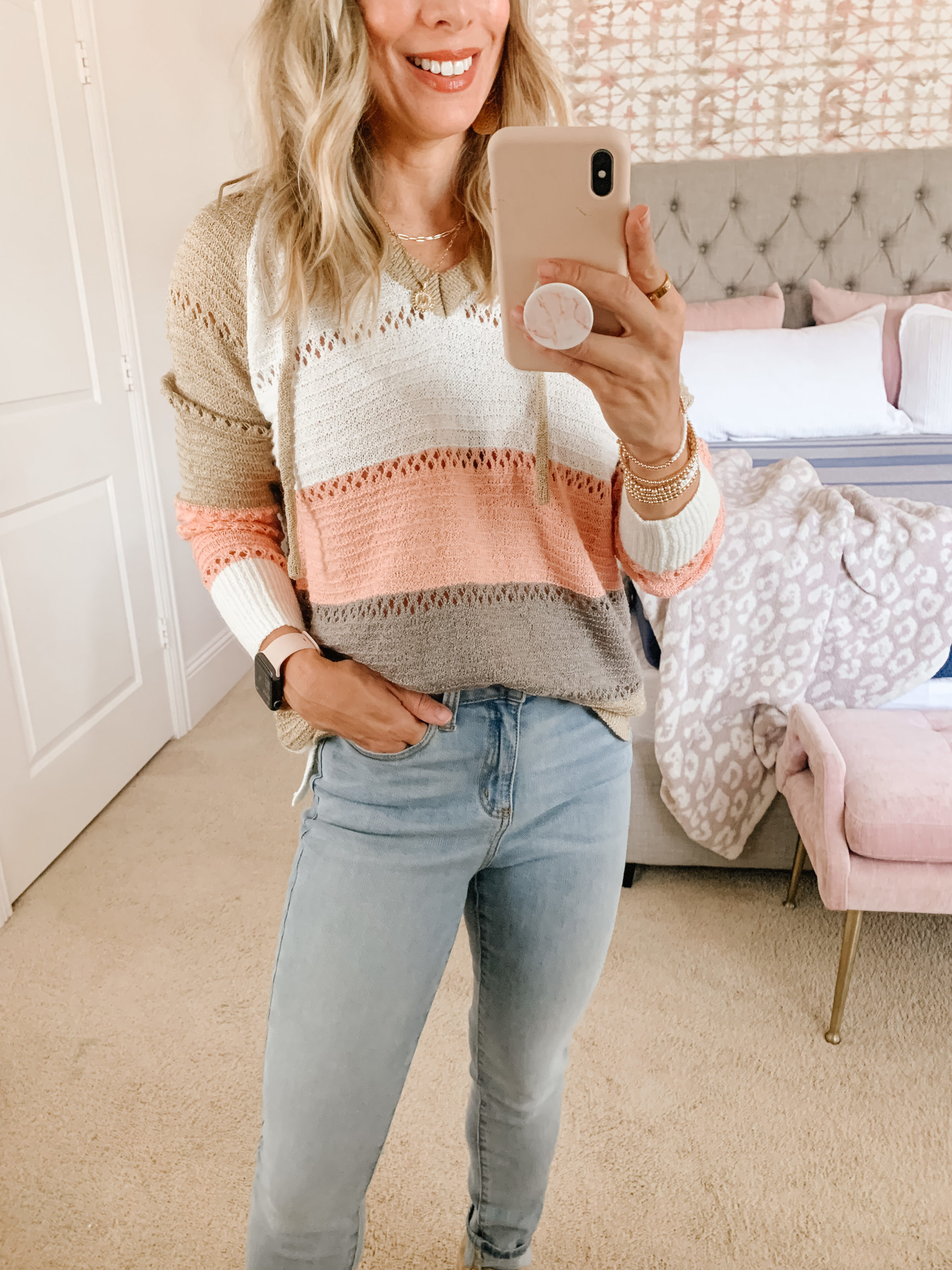 Amazon Fashion, Colorblock Sweater, Jeans, Booties
