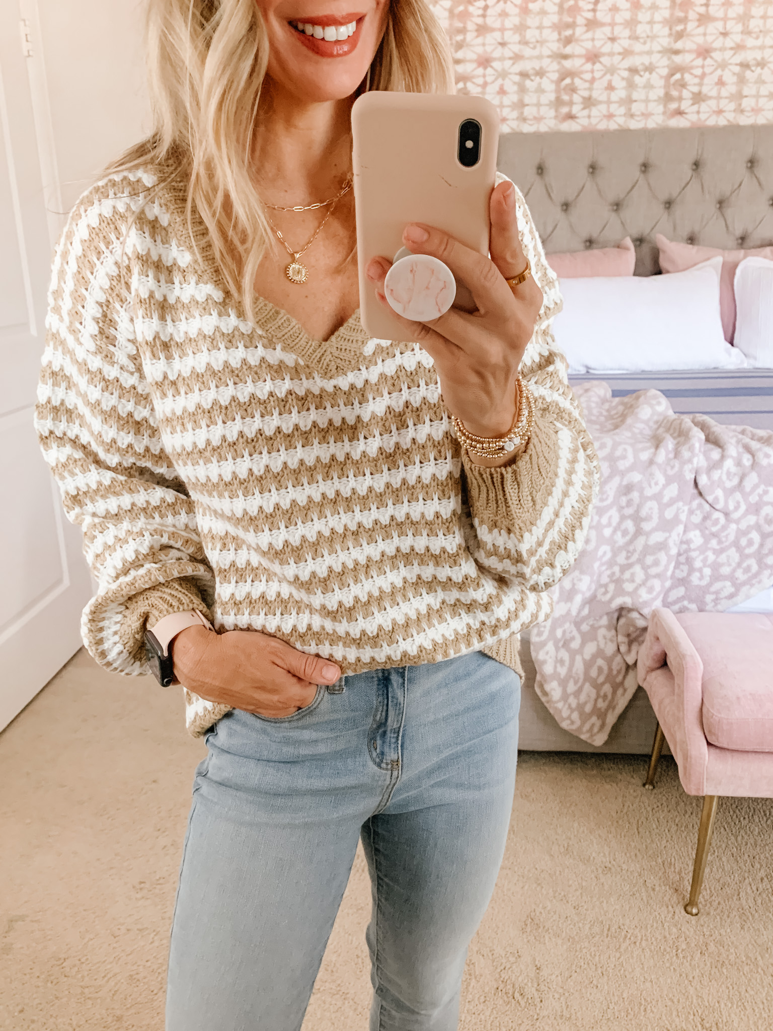 Amazon Fashion, Striped Sweater, Jeans, Booties