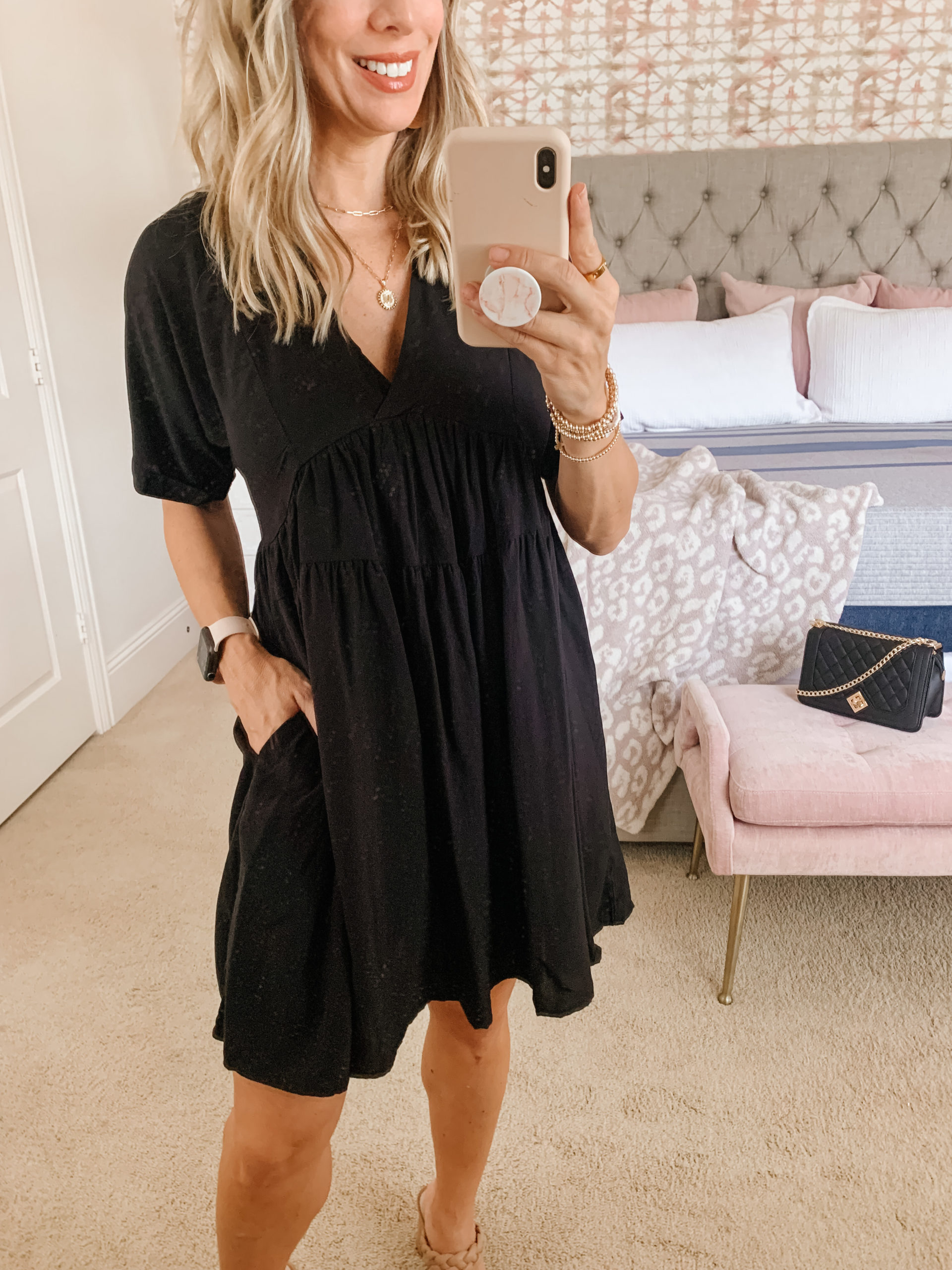Amazon Fashion, Black Dress, Sandals, Crossbody
