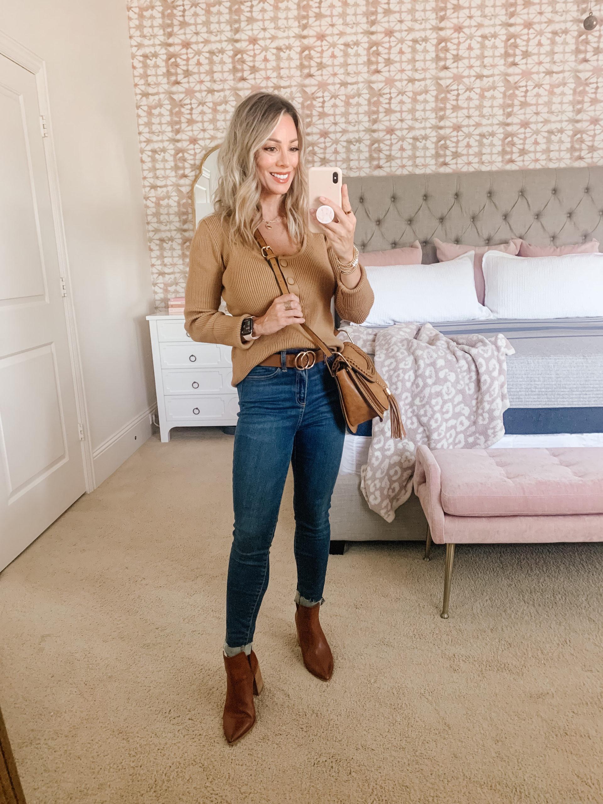 Amazon Fashion, Sweater, Jeans, Booties, Crossbody