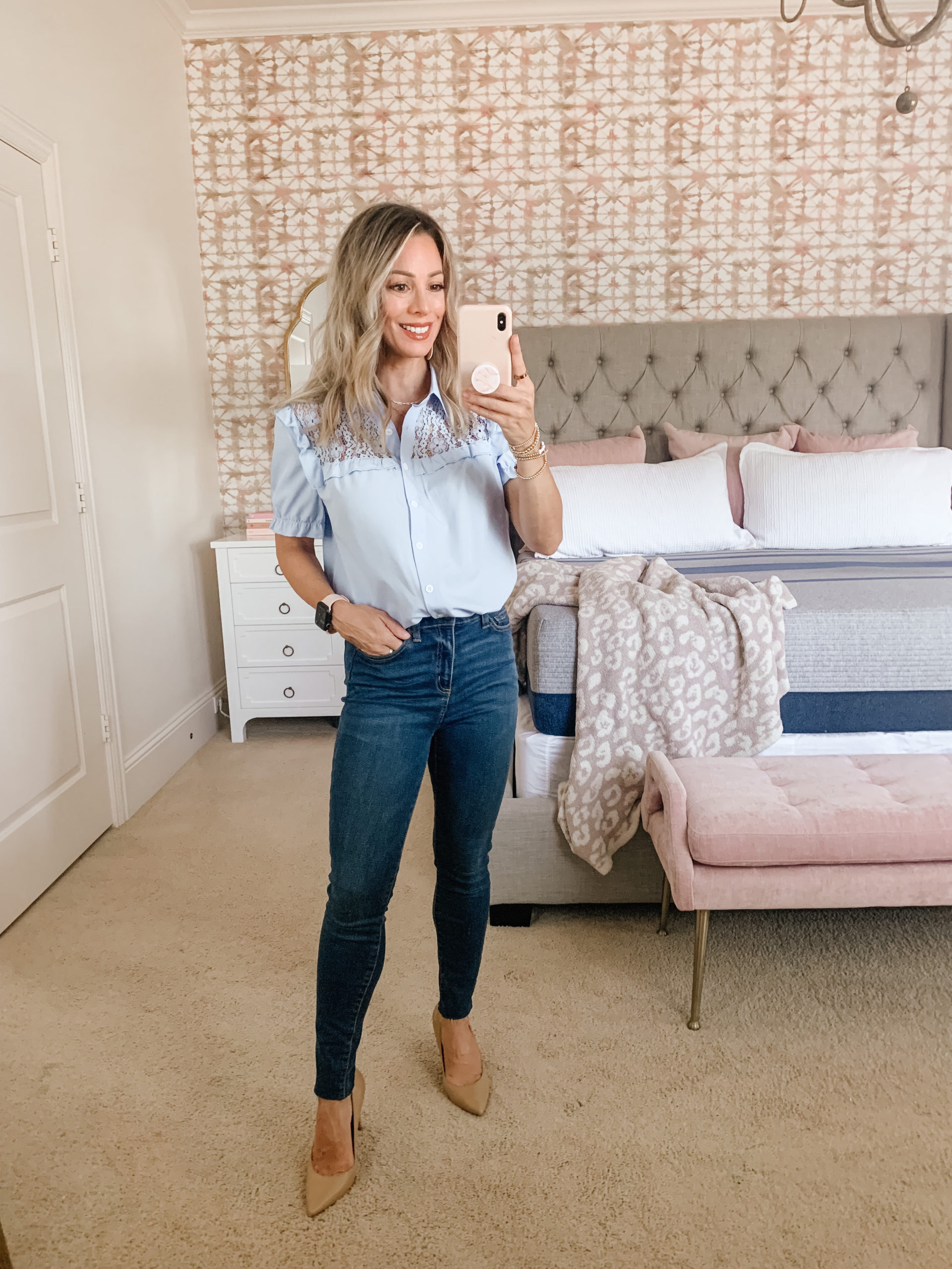 Amazon Fashion, Blue Top, Jeans, Heels