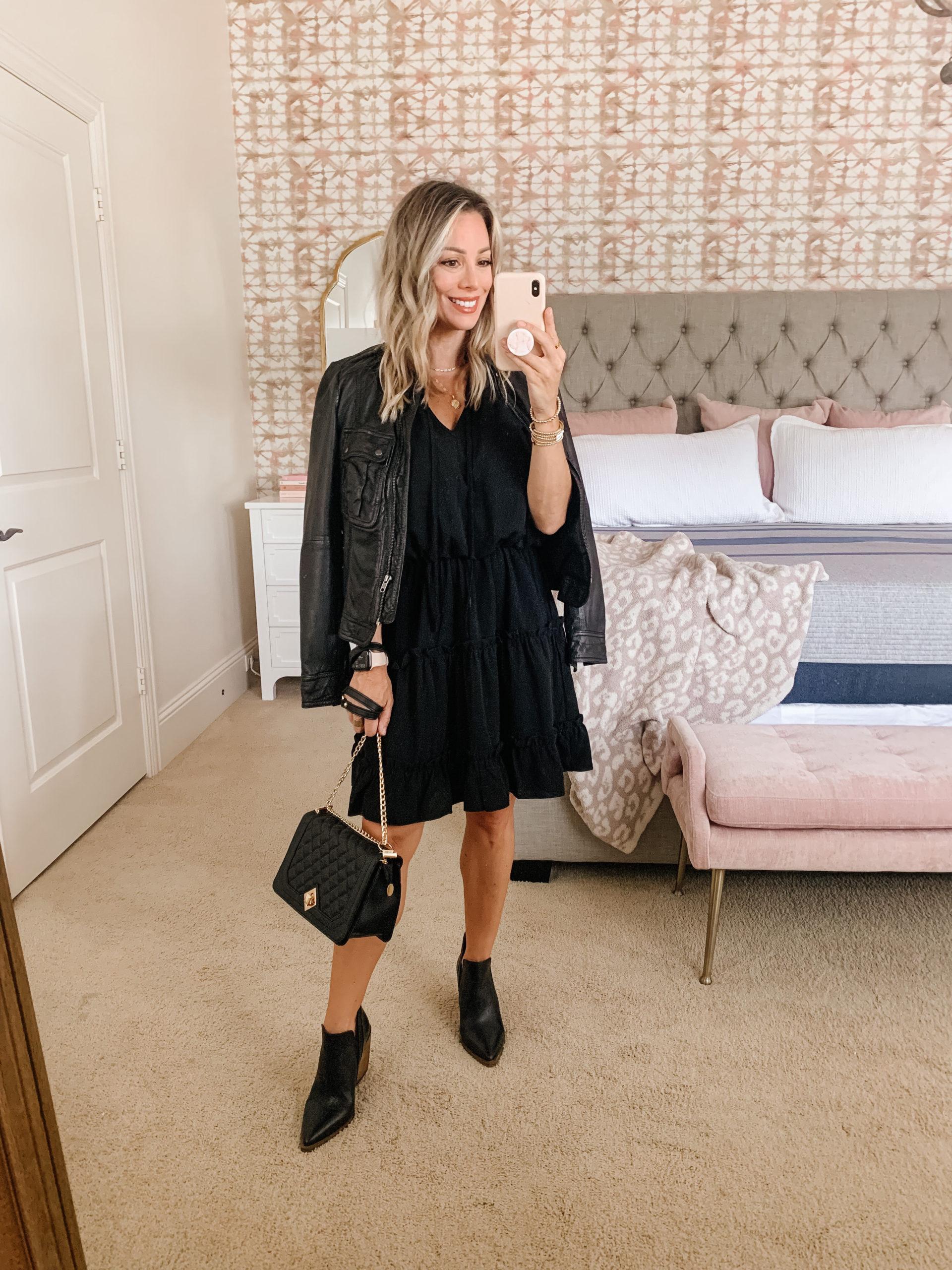 Amazon Fashion, Black Dress, Sandals, Crossbody , Leather Jacket