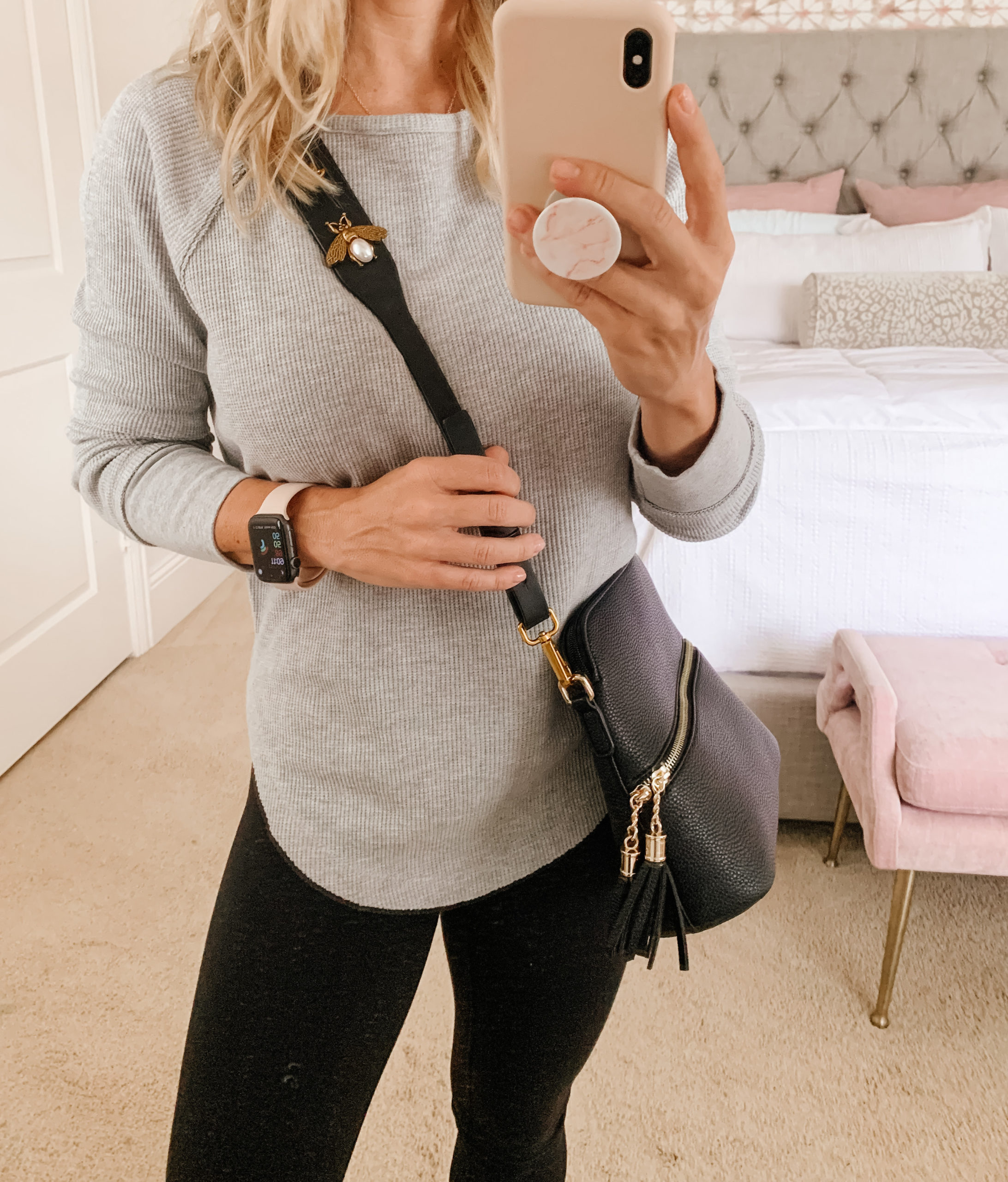 waffle knit long sleeve top and leggings with crossbody bag