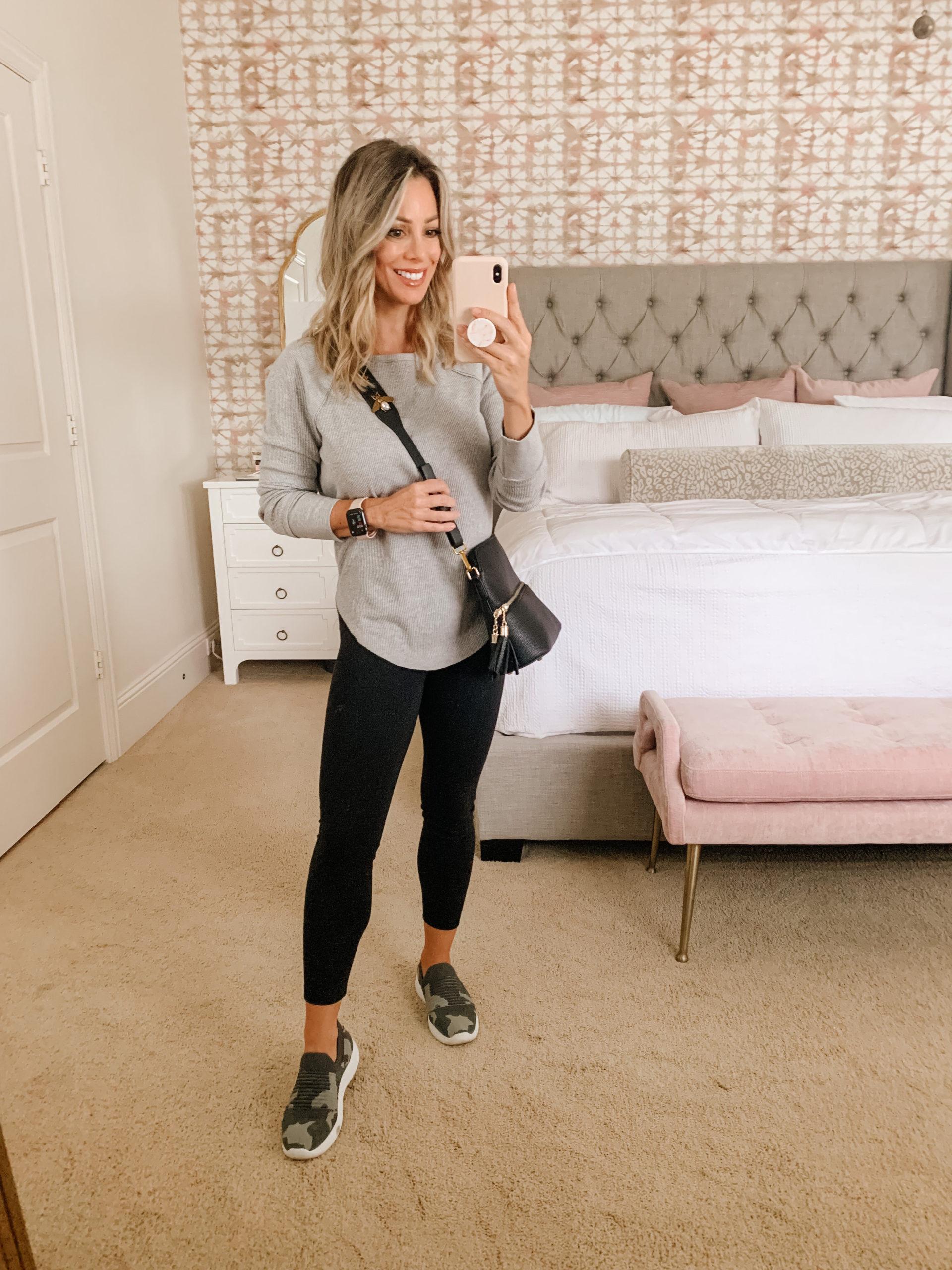 Waffle Knit Top, Leggings, Sneakers Crossbody Bag