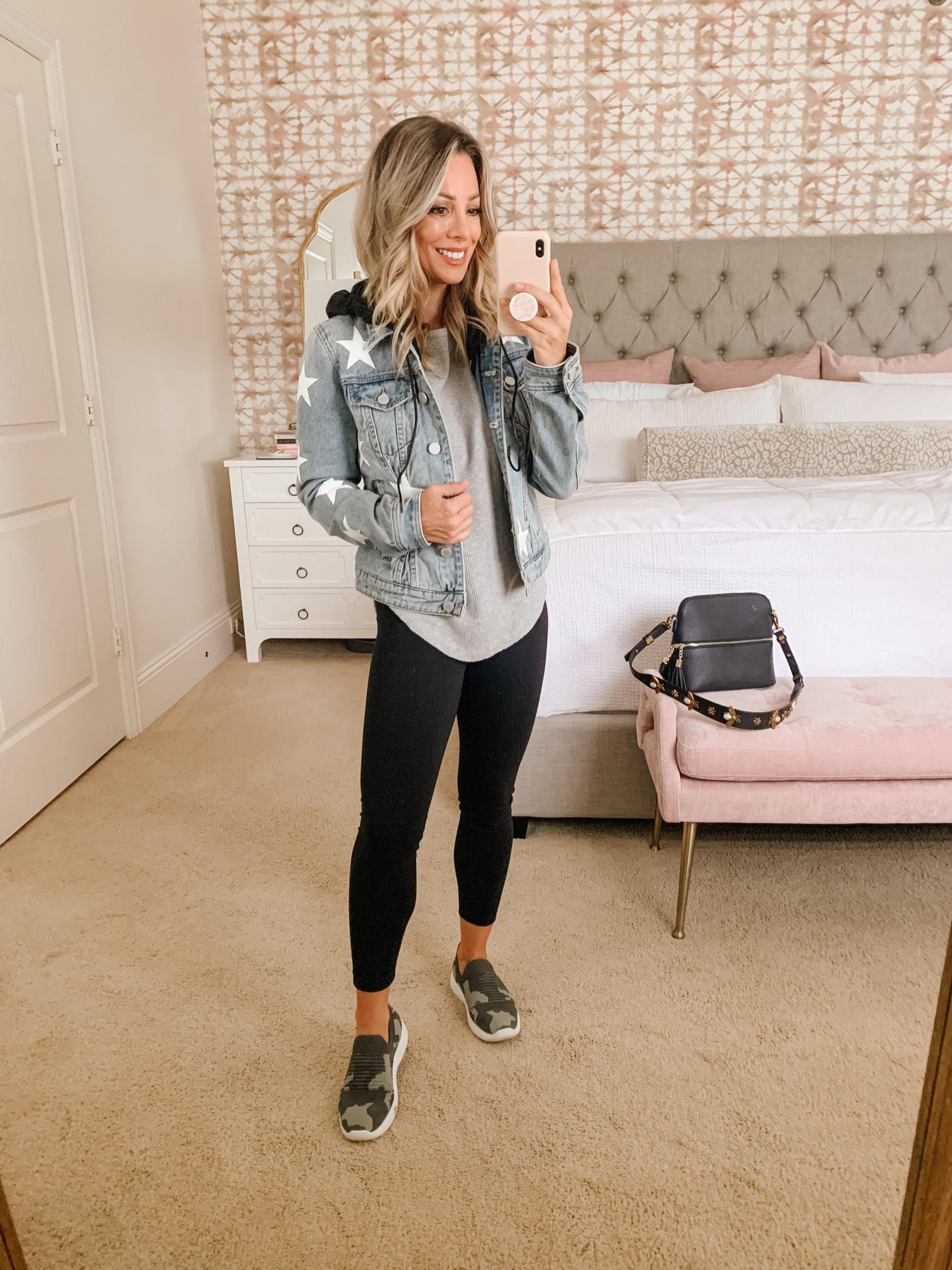 Waffle Knit Top, Jacket, Leggings, Sneakers Crossbody Bag