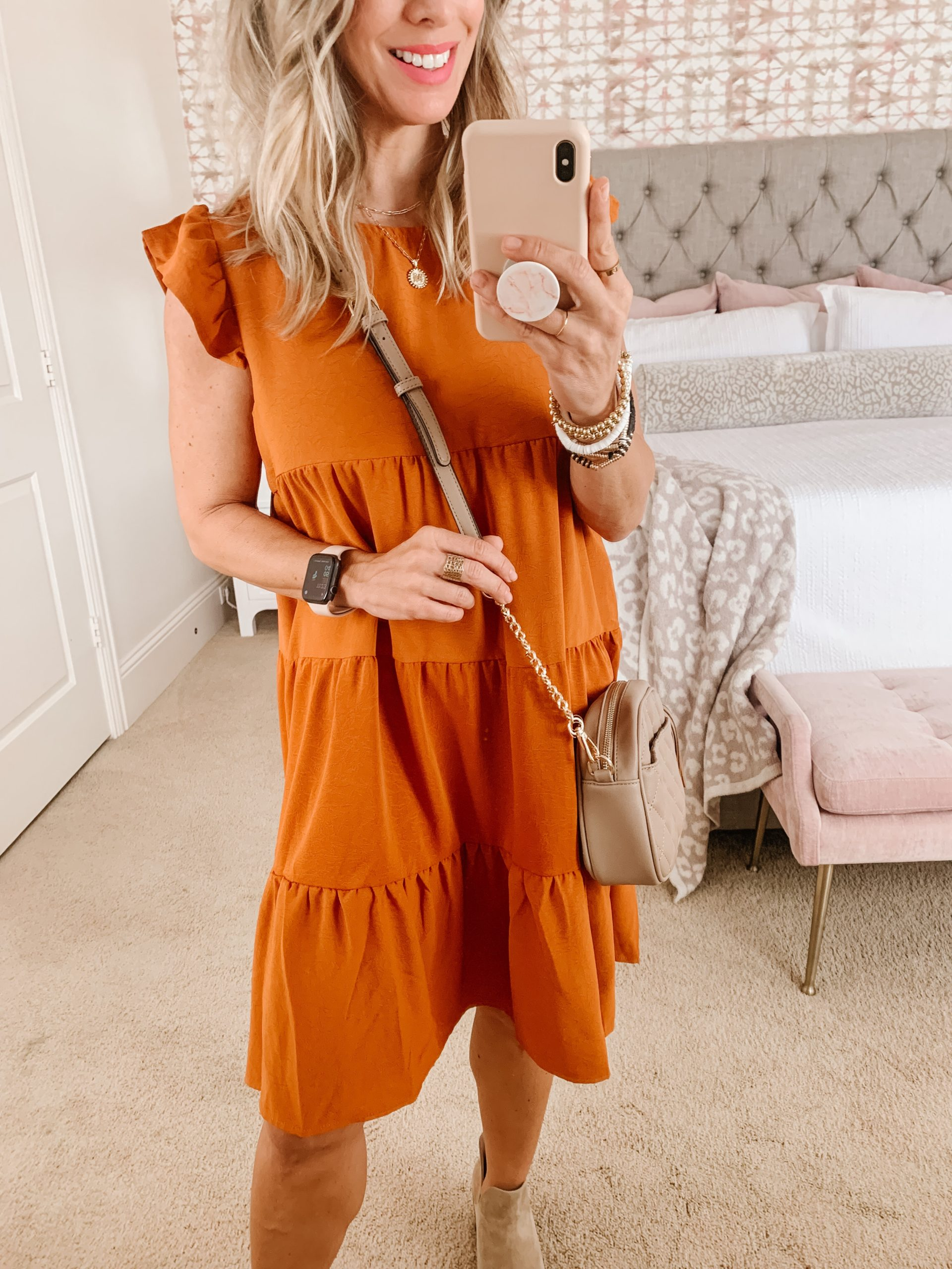 Amazon women's burnt orange dress