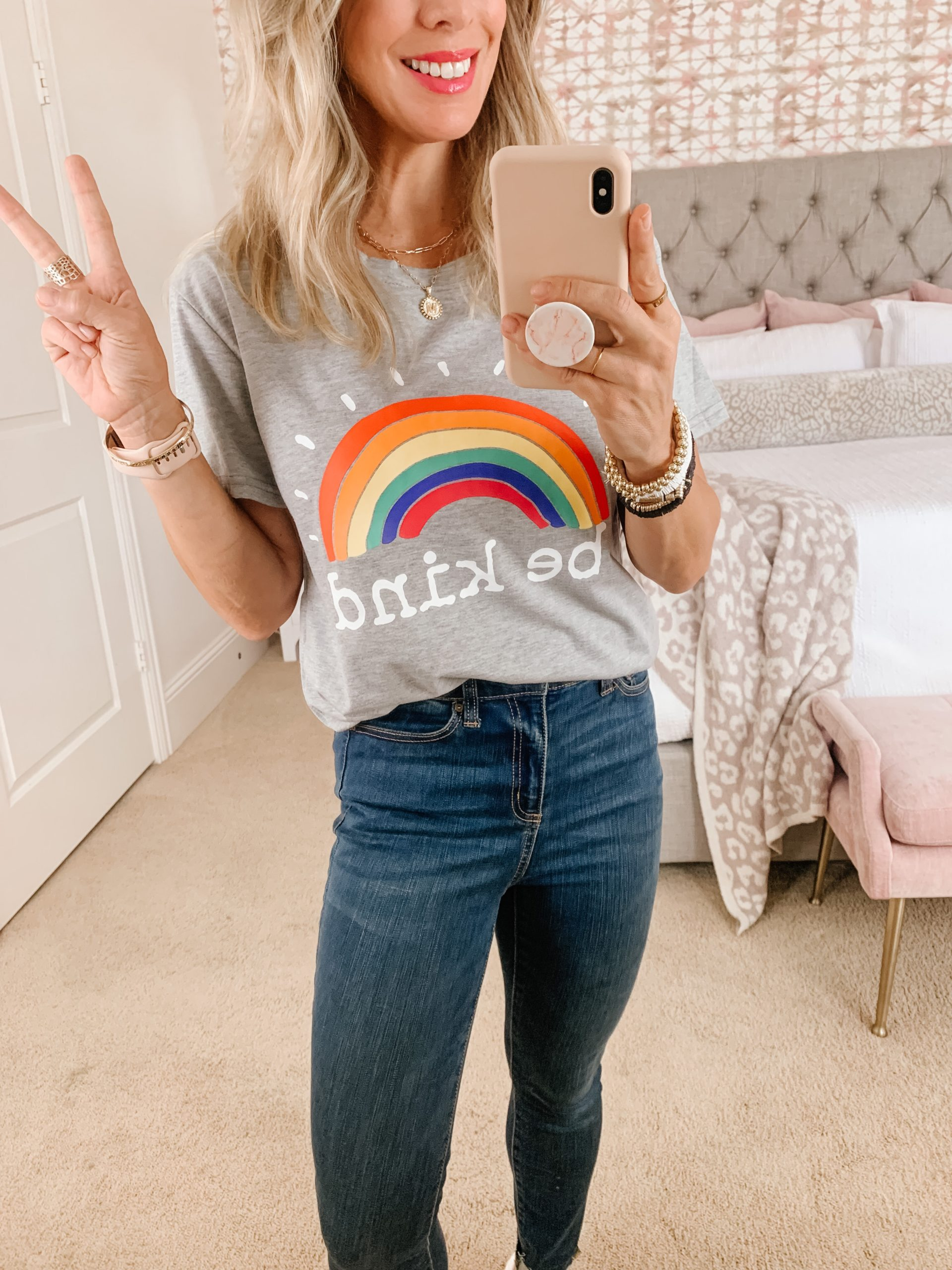 Amazon skinny jeans and be kind tee