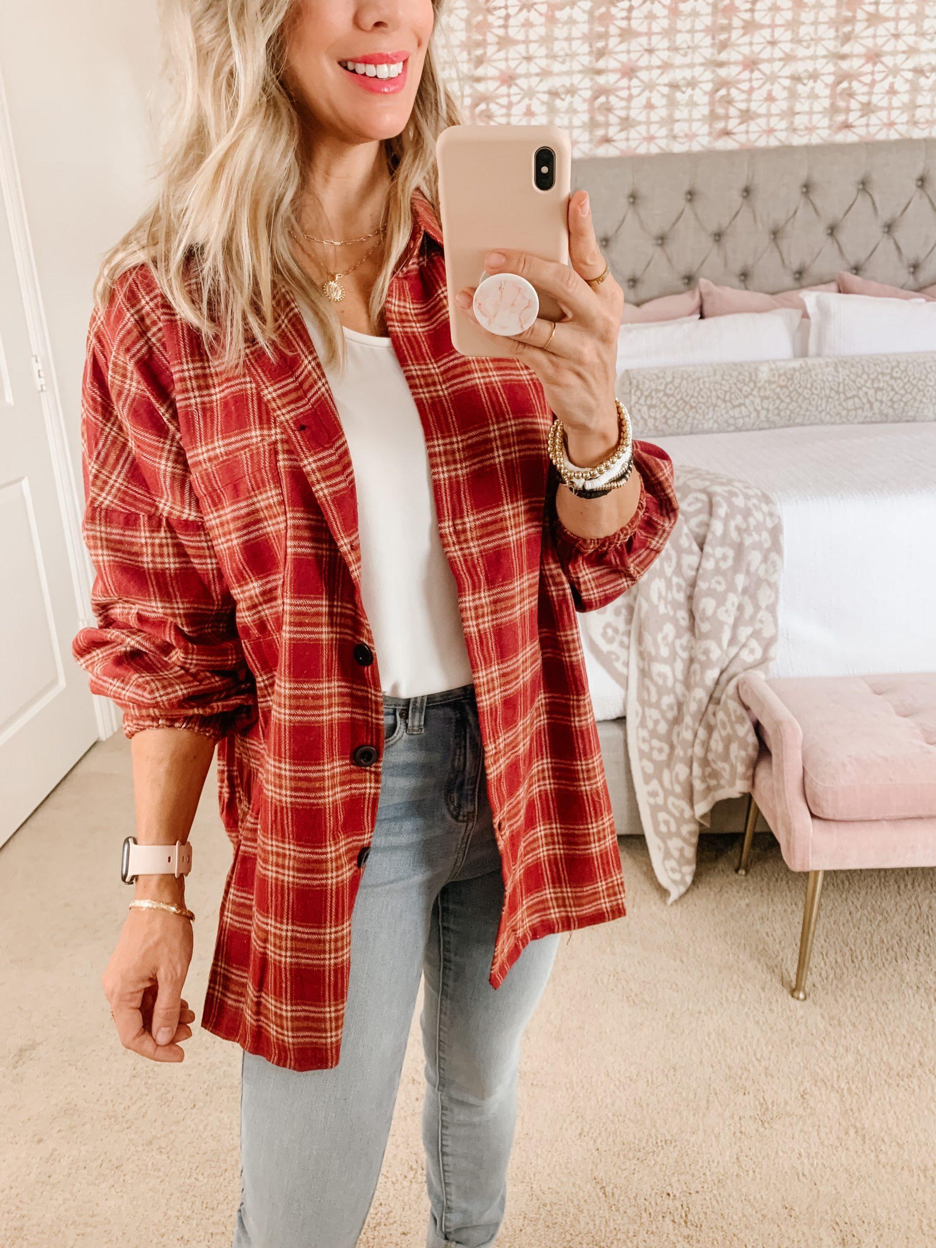 Amazon flannel plaid button down top
