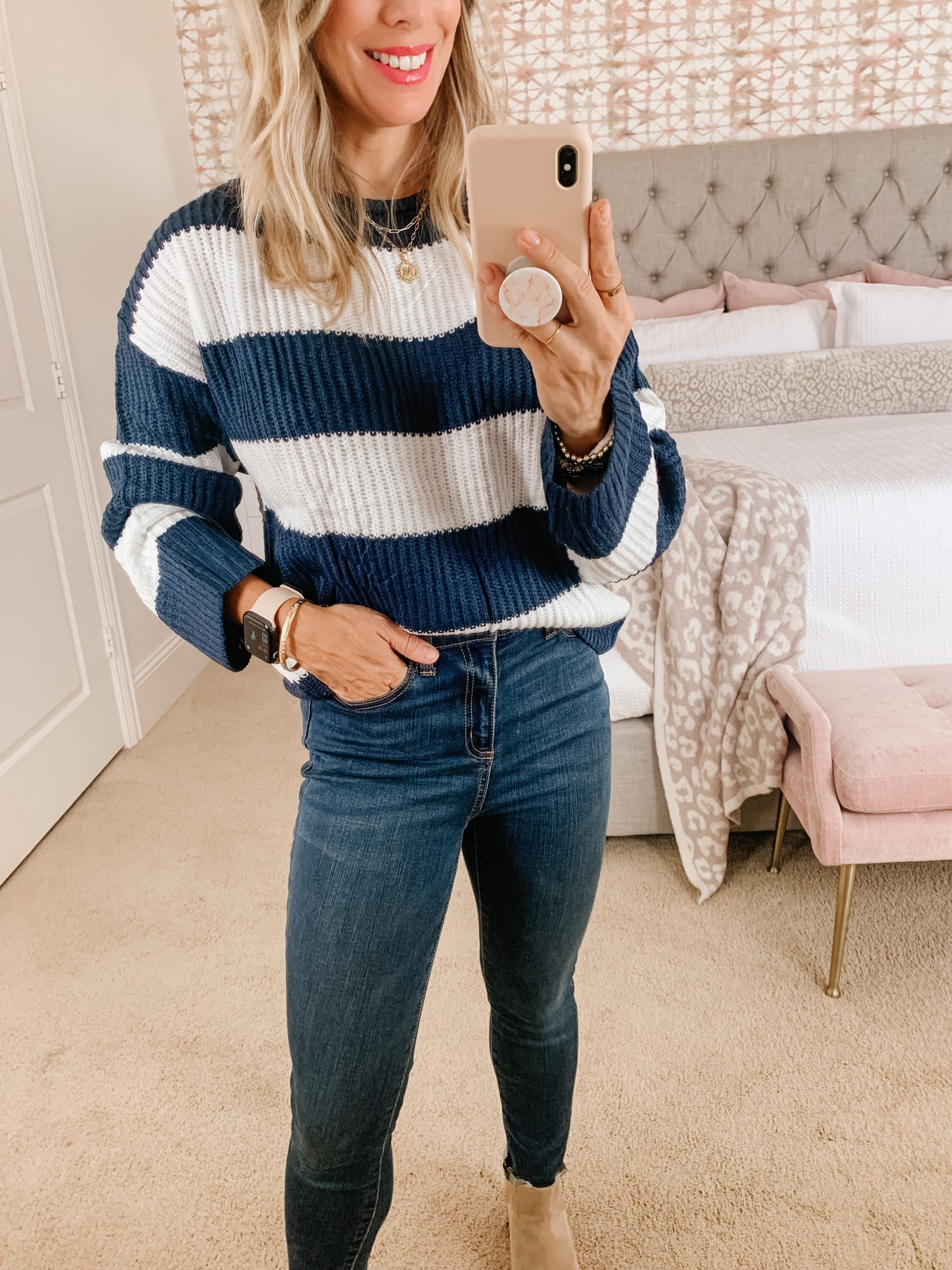Amazon women's striped sweater and jeans