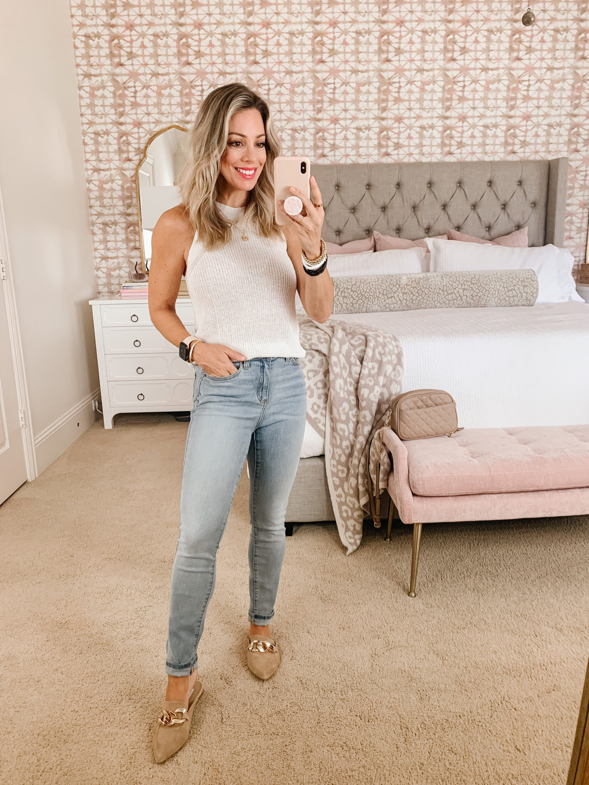 Amazon skinny jeans and white sweater tank
